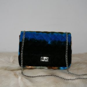 Tas Velvet Stripe Blue black